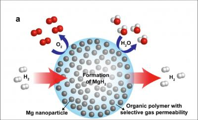 This schematic shows magnesium nanocrystals in a polymer matrix to create a new hydrogen storage material