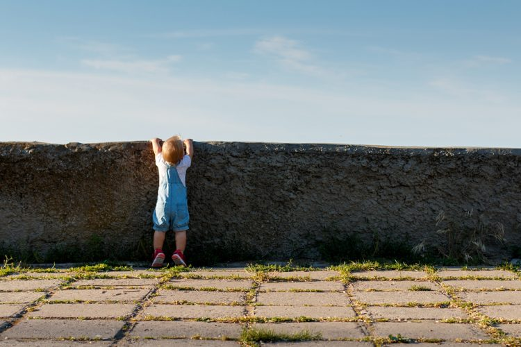 Little girl trying to look over a wall.